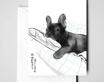 French Bulldog Card, International Doggy Sumi-e Painting Illustration,Asian France Zen Art Cute Summer Ink Drawing Dog Lover