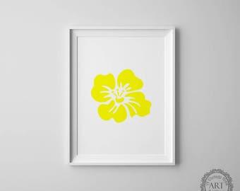 Yellow Flower Wall Print, Hibiscus Flower, Hawaiian Decor, Tropical Flowers, Hawaii Flower, Haiti Flower, Tropical Home Decor, Printable