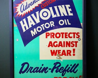 Large Vintage 1953 Havoline Motor Oil Can Gas Station Cardboard Advertising Sign in Wood Frame Old Auto Repair Shop 50's Display Art Green