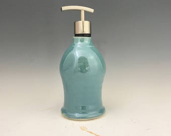 Handmade Gloss Turquoise Porcelain Soap Dispenser - Sophisticated Pottery Soap Dispenser  - Soap Pump - Made To Order
