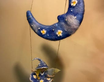Needle felted mobile, Waldorf inspired, Fairy and Moon, Blu mobile, Children room, Nursery, Home decor, Mobile, Swing, Gift