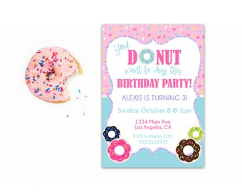 Donut Birthday Invitation - Donut Party Invite - Birthday Invitation for Kids - Donut Birthday Party - Birthday Invitations for Girls
