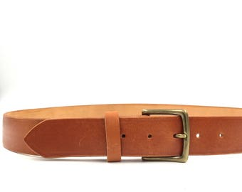 Best quality unisex leather tanned leather belt with solid brass buckle, hand made, polished edges. M2