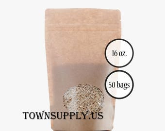50 - 16 oz Kraft paper stand up pouches, clear oval window, food grade bags, product packaging, resealable zipper, recloseable party favors