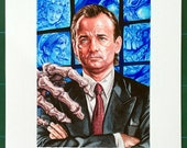Original watercolour painting of Bill Murray as Frank Cross in the 1988 film Scrooged.