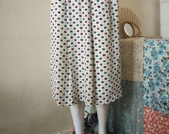 Vintage nautical knee length skirt with flags 1980s 80s