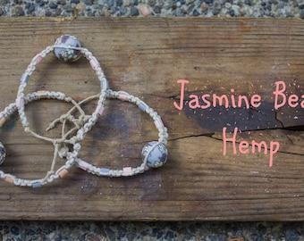Jasmine Flower Bead Hemp Bracelet