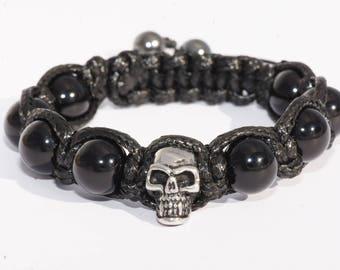 Bracelet skull gems/Agate/skull stone/stainless steel