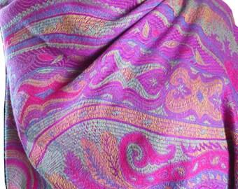 Gorgeous pink and aqua paisley Boho Pashmina cashmere, silk wool wrap/ shawl with fushia tassels. Super soft.