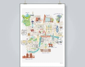 Illustrated Map of London - A2 - London map - Colourful Art Print - Hand-drawn - Poster - Perfect Gift - Ready to Frame