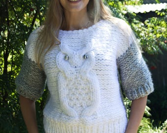 "Stylish Knitted Jumper ""Owl"", Oversize, womens knit pullover women's sweater, white sweater, pullover, knitted Jumper, hand knit sweater"