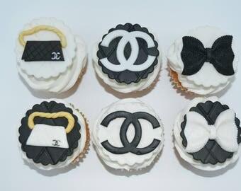 Designer cupcakes, designer cupcake topper, fondant cupcake, designer party, Chanel, Chanel cupcakes, designer handbag