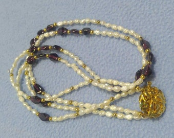 Lovely Amethyst and Freshwater Pearl 2 Strand Necklace