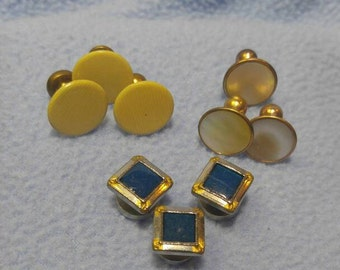 3 Sets Of Vintage Button Shirt Studs ~ Silver with Blue Stones, Mother of Pearl on Goldtone, and Celluloid on Goldtone