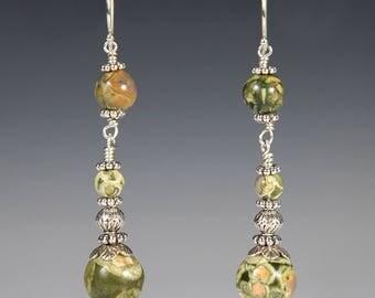Rainforest Jasper and Sterling Silver Earrings
