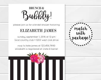 Brunch and Bubbly Floral Bridal or Baby Shower Invitation, Black and White Stripes, Kate Spade
