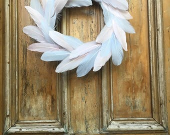 Pastel Pink and Blue Feather Wreath