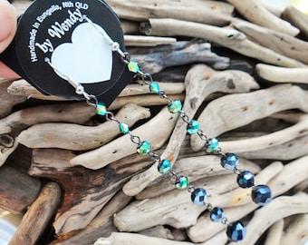 Long Statement Faceted Glass Beaded Earrings Dangle Green Luster Gunmetal Grey Beads