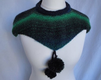 knitted mini-cape, pompom cowl, teal/multi capelet, knit shoulder cape, multi-color capelet, wool-mix mini-cape, knitted neck-warmer,capelet