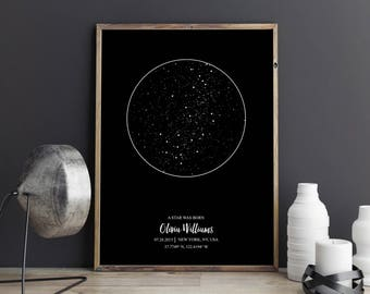 Star map - Star map print - custom star map - star map personalized - star map by date - star map gift - engagement gift - star chart