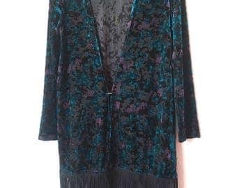 Vtg Blue Velvet burnout Kimono sz S 80's 90's grunge Revival Top