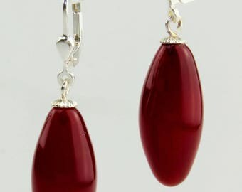 Earrings olive / Brisur 925/000 Silver rhodium plated, ox blood