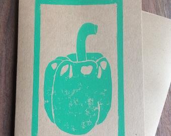 Green Bell Pepper greeting card, hand printed linocut block print, A2 4.25 x 5.5
