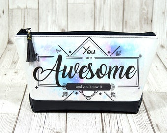 Awesome makeup bag large, Bridesmaid make up bag, Make up storage cosmetic bag, Zipper pouch cosmetic travel bag, Quote bag watercolor