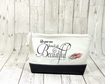 Be your own kind of beautiful cosmetic bag, Feather makeup bag wash bag, Bridemaid makeup bag leather cosmetic bag, Feather gift bridesmaid