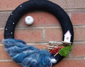 Wool Art Craft Wreath. Incoming Tide. Seaside Wreath. Room Decoration. Boat Decoration. Ocean Decoration Wreath. Unique Wool Decoration.