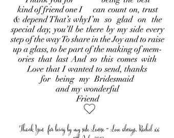 Bridesmaid / Maid of Honour love heart photograph personalised poem print - Framed and Un-Framed prints