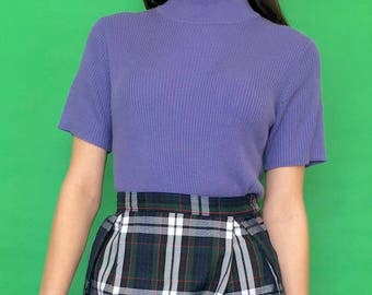 Vintage 90s Y2k 2000s Purple Minimal Ribbed Short Sleeve Mock Turtle Neck T-Shirt