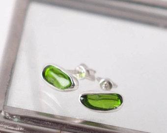 Green stud earrings Green stone studs Green studs silver  Little earrings Raw green studs Small studs