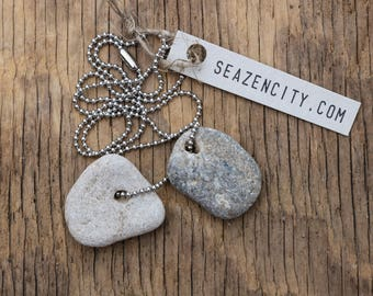 Wabi-Sabi Holey Stone Necklace - Rustic Hag Stone Jewelry - Talisman - Amulet Pendant -  Stainless Steel Ball Chain