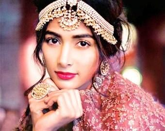 Bridal Gold Kundan Matha PattiIndian JewelryKundan JewelryBridal Patti Maang