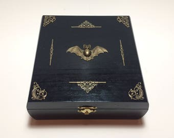 Victorian Gothic Vampire Altar Box, Gothic Jewelry Box, Gothic Crystal box