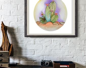Downloadable illustration / watercolor / Cactus / promo