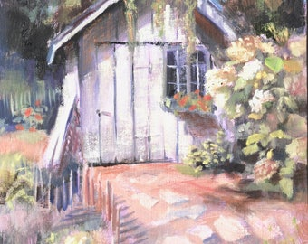 Oil Painting, Hydrangea, Barn Painting, Illinois Painting, Original Paintings, Garden Path, Shed, Small Painting on Canvas Sue Whitney 8x10