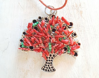 Tree of Life Medalion, Pendant, Wall Hanging, Red Coral Pendant.  Item # P032
