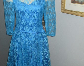 1970's  Blue Lace Overlay Drop Waist Knee Length Formal Party Prom Dress