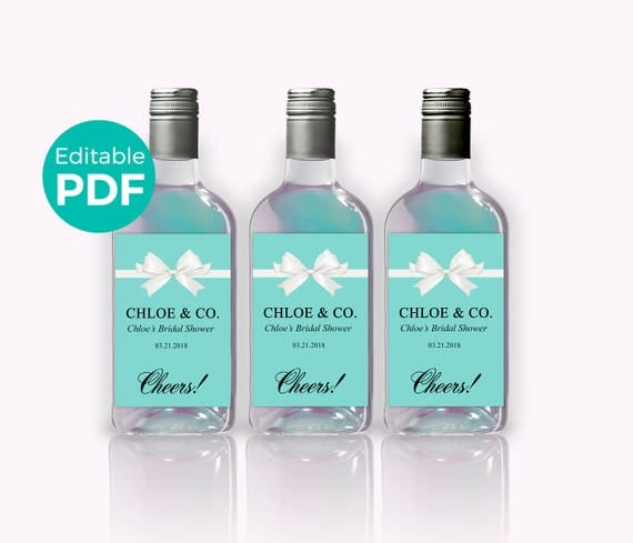 bride co mini wine bottle labels pdf teal blue bridal shower wine