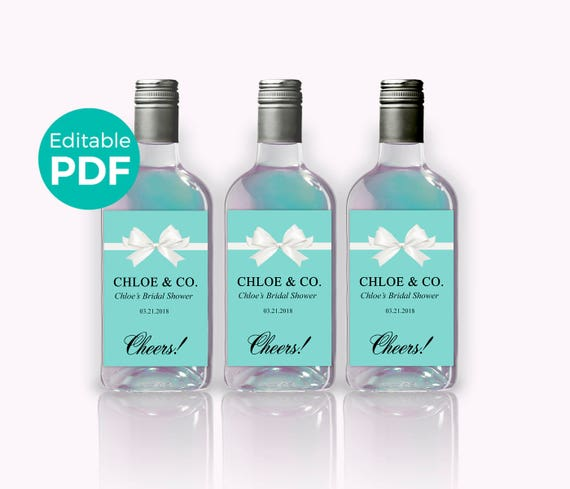 Bride Co Mini Wine Bottle Labels PDF Teal Blue Bridal Shower Wine - Mini water bottle label template