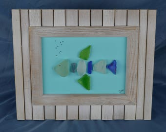 Fish seaglass art, 8.5in x 10.5in framed color seaglass, coastal decor, driftwood, beach house, coastal, gift, fishing
