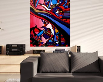 Large abstract painting original canvas acrylic modern artwork red and black contemporary wall art by Caerys Walsh 40 x 30 inches ooak