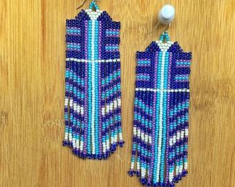 Long Boho earrings native american inspired earrings dangle earrings handmade beaded earrings chandelier earrings statement earrings