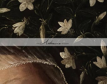 Instant Art Printable Download - Antique Art Renaissance Woman Stare Eye White Flowers Veil Art Image - Paper Crafts Altered Art Scrapbook