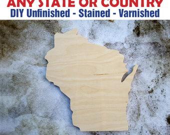 Wisconsin, Wisconsin Wood Cutout, Wisconsin Wall Art, Wisconsin Wood Sign, Wisconsin Wood, Wooden Wisconsin Sign, Unfinished Wisconsin