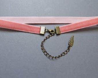 Coral Choker - Pink Velvet Choker - CoralVelvet Ribbon - Lolita Choker - Pastel Goth Necklace - Grunge Choker - 90s Velvet Choker