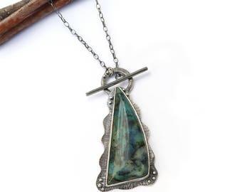 Blue Opal Silver Pendant, Sterling Silver Pendant, Gemstone Pendant, Handmade Oxidized Silver Pendant, Design Jewelry, Contemporary Pendant