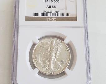 NGC Certified AU55 1941 D 50 cents
